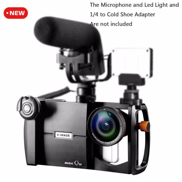 Ulanzi E-imagem Magia Q30 Smartphone Video Kit Estabilizador Gaiola w Grande Angular / Marco Lens para Videomaker Filmaking para iPhone 7