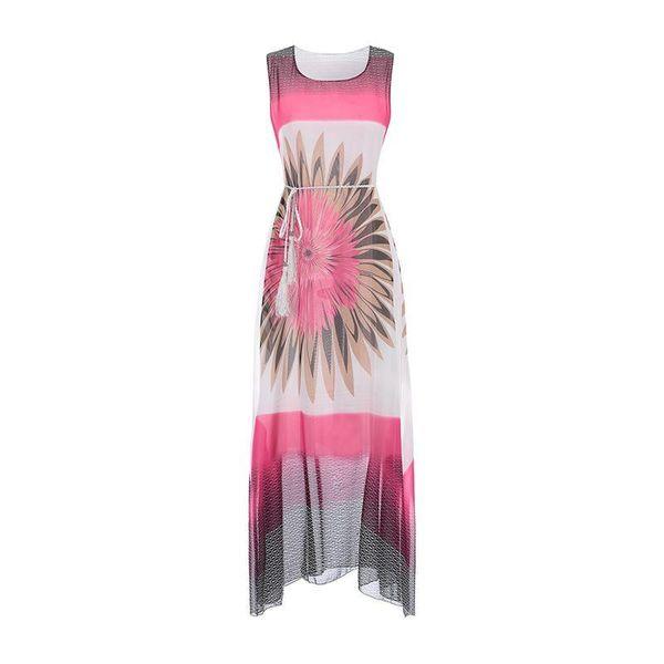 Women Bohemia dresses 2018 China NEW YEAR long dress printed tassel Summer beach maxi tunic vestidos femme clothing WS5765Y