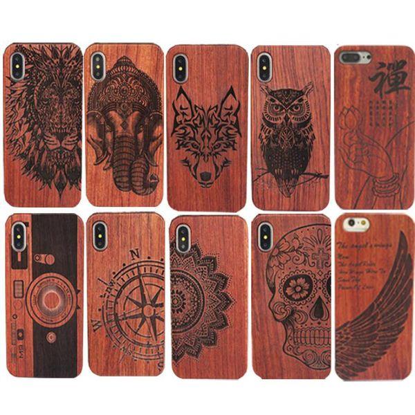 Echtes Holz Case Hard Cover Carving Holz Telefon Shell Bambus Gehäuse Luxus Retro Schutz Für Iphone X 6 7 8