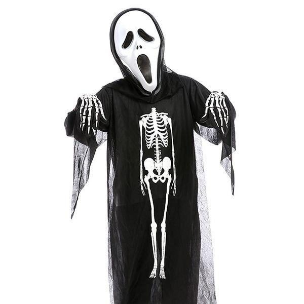 Horror Halloween Skull Skeleton Demon Ghost Cosplay Costume Mask Children Kids Carnival Masquerade Party Black Robes Scary Mask