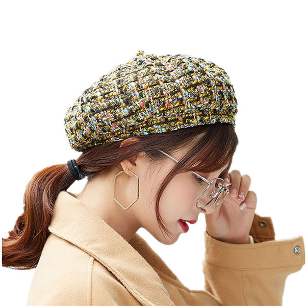 7fe7c1beceff6 SUOGRY 2018 New Spring Summer Fashion Women Beret Color Mixing Knitting  Pumpkin Hat Cap Ladies Berets