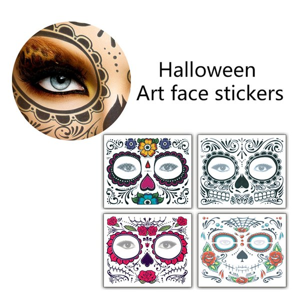 Christmas Party Facial Day of the Dead Faced Tattoo Halloween and Masquerade Ball Must Pretty Tattoo Sticker Waterproof Faced Tattoo 3006089