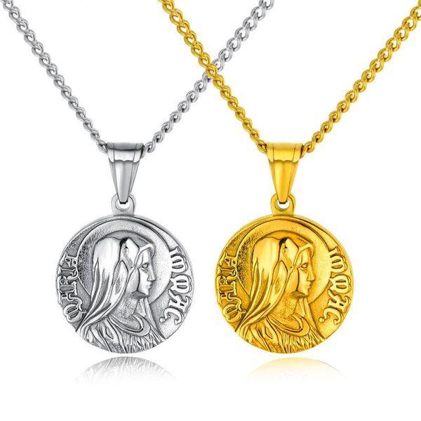 Moda Takı Klasik Dini Takı Meryem Kolye Kolye Erkekler Için / Kadınlar Paslanmaz Çelik Yuvarlak Kolye Altın / Gümüş