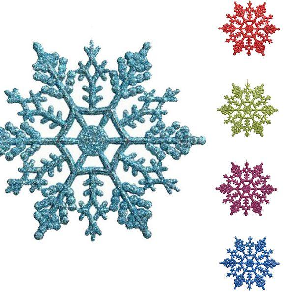 Hot 12pcs Plastic Christmas Xmas Snowflake Ornaments Tiny Sparkling Sequin Glitter Snow on String Wedding Decor