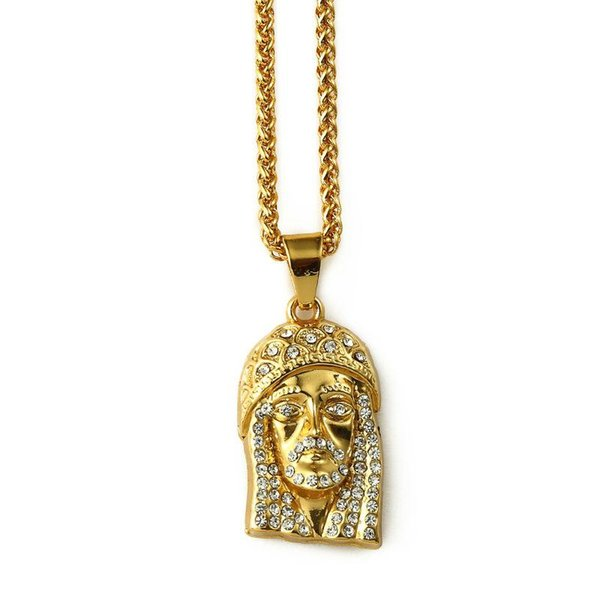 2018 Gold Iced Out Lab Simulated Rhinestone Mini Micro Jesus Piece Pendant Necklace Hip Hop Crystal Chain Jewelry(Small Size)