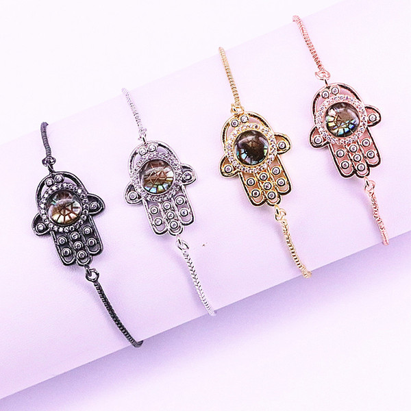10Pcs Micro Pave Cubic Zirconia Abalone Shell Hamsa Hand Charms Connector Adjustable Bracelets for Women gift LL-B031