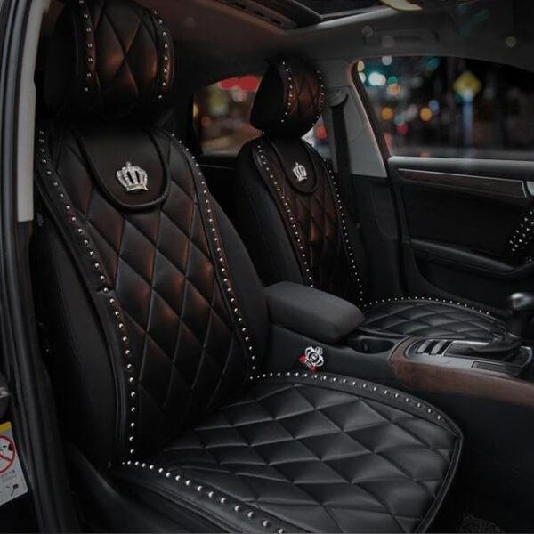best selling CARSHAPING 1Pcs Durable Soft Leather Material Crown Car Interior Seat Cover Cushion Pad Mat Crown Auto Supplies (Black White)