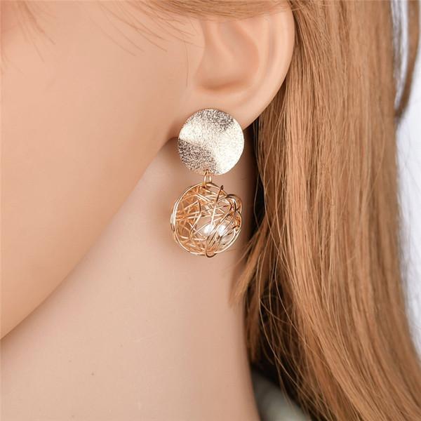 Pendientes chapados en oro de la manera pendientes de la bola Pendientes geométricos para las mujeres que cuelgan los pendientes de la gota cuelgan el pendiente Joyería punky LL