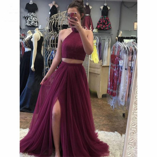 2019 Бургундия бисером вечерние платья длинные две части платье Холтер сторона Сплит Vestido Лонго вечернее платье для женщин