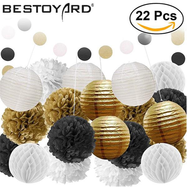 Diy papel de seda pompones flores linternas de papel nido de abeja bola y papel de lunares guirnalda para el banquete de boda decoraciones