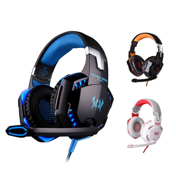 Casque de jeu pour PC avec fil de jeu sur-oreille Casque d'écouteur avec audio de 3,5 mm et prise jack stéréo basse LED pour PC PS4 Xbox One