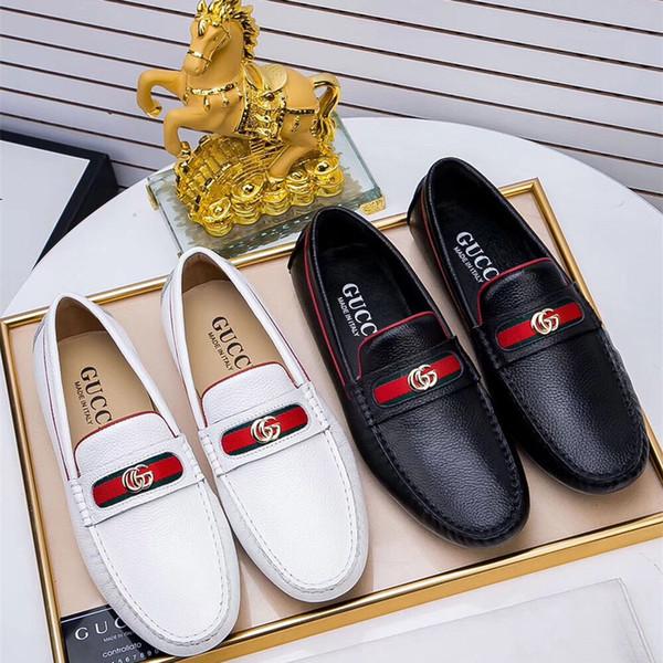 Marca de cuero genuino de lujo de los hombres Pisos Italia ocio de moda Zapatos de conducción Mocasines de los hombres Mocasines para hombres