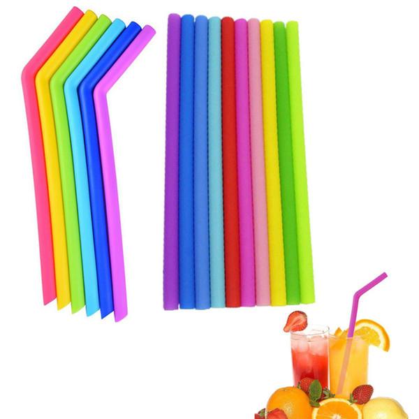 As palhas bebendo do silicone flexível do produto comestível bebem a palha colorida Eco-Amigável reusável do silicone das ferramentas para os acessórios home da barra