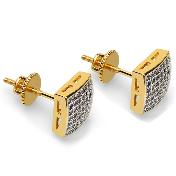 Mens Hip Hop Stud Earrings Jewelry 2018 New Fashion Gold Plated Simulated Zirconia Square Earrings For Men Cubic Zircon Ear Studs