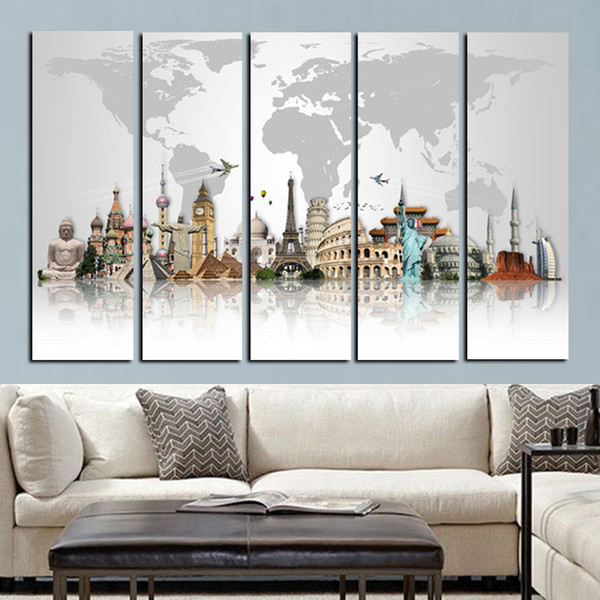 5Panel Large Size HD Prints 3D World Famous Buildings on Canvas Wall Paintings Modern Wall Art Picture For Living Room