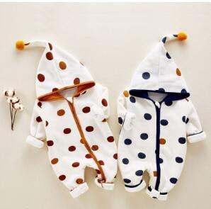 Brand New Children Clothing New Born Spring Autumn Long Sleeve Dot Hoodie Rompers Baby Kids Zipper Jumpsuit Free Shipping