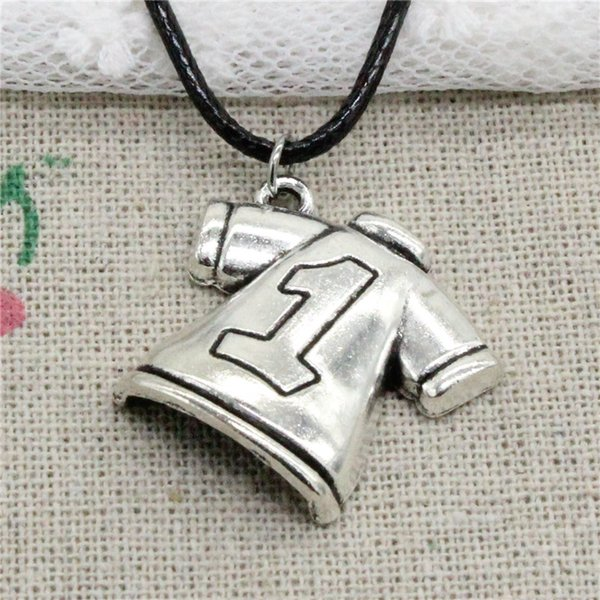 Creative Fashion Antique Silver Pendant No.1 Football clothes 25*26mm Necklace Choker Charm Black Leather Cord Handmade Jewlery