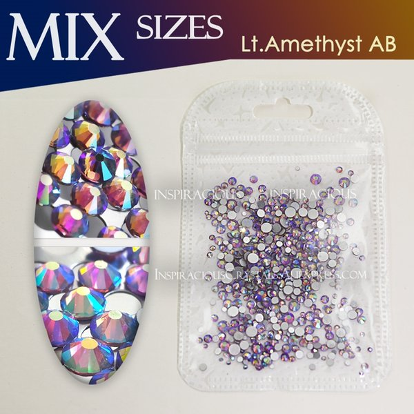 Lt.Amethyst AB Mix Sizes SS3-SS16 about 500Pcs/Bag Rhinestone nail glass for 3d nails manicure design Non hotfix crystal glitter