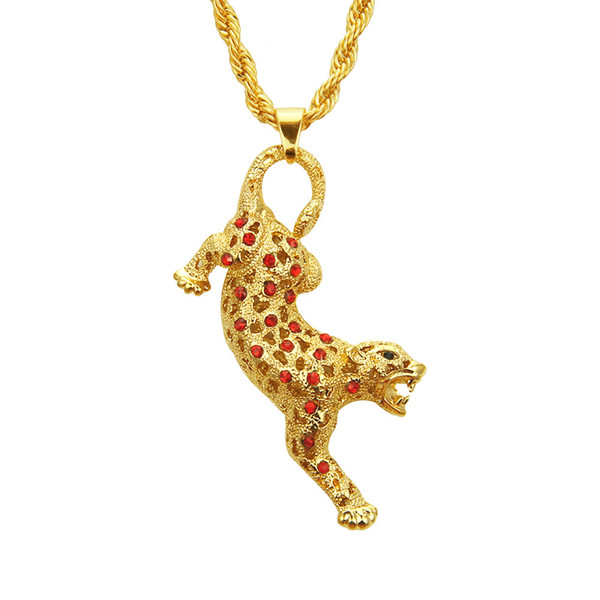 New coming animal Leopard shape pendant necklace AAA grade crystal rhinestone Hip hop jewelry pendant necklace for men