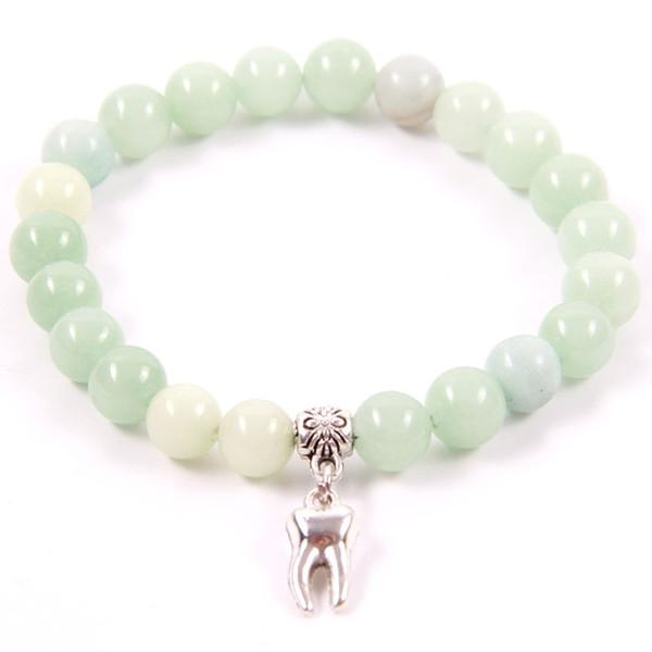 NCRHGL Mignon Amazonite 8mm Perles Bracelets Bracelet En Pierre Naturelle DENTURE Charme Perlé Bracelets Pour Femme Mâle En Bijoux Présent