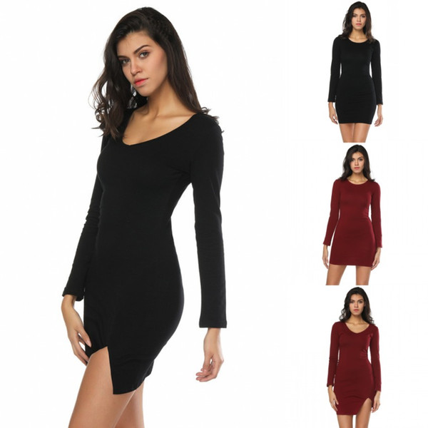 Stylish Fashion Women Bodycon Sheath Dresses Casual Party Wears For Autumn Fall Vintage Long Sleeves Above Knee Length Slit Clothing FS5747