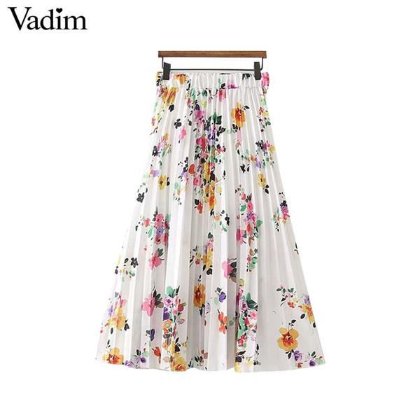 0d03e7f43 Compre Vadim Mujeres Dulce Estampado Floral Falda Plisada Cintura Elástica  Faldas Mujer Damas Verano Casual Chic Midi Faldas BA046 A $23.61 Del ...