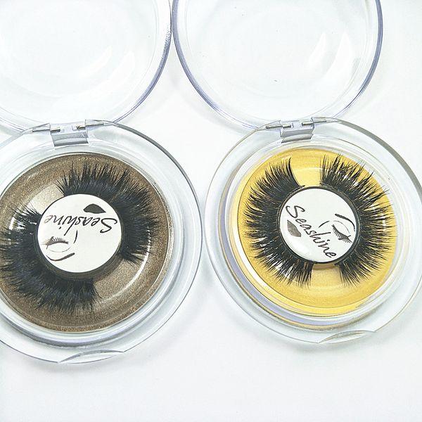 Seashine Natural mink hair eyelashes 3d mink eyelashes false eyelashes Mink strip lashes with private label free shipping