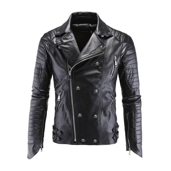 Motorcycle PU Leather Jacket Winter For Harley Fashion PU Leather Jackets Faux Jacket Stylish Slim Fit Coats Moto Skull