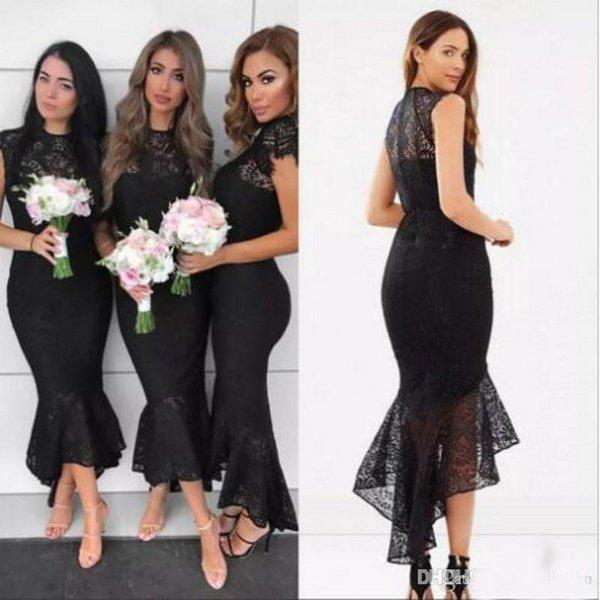 Schwarz 2018 Meerjungfrau Brautjungfernkleider Jewel Neck Hallo-Lo Spitze Applikationen Junior Brautjungfer Kleid Trauzeugin Kleider Vestidos