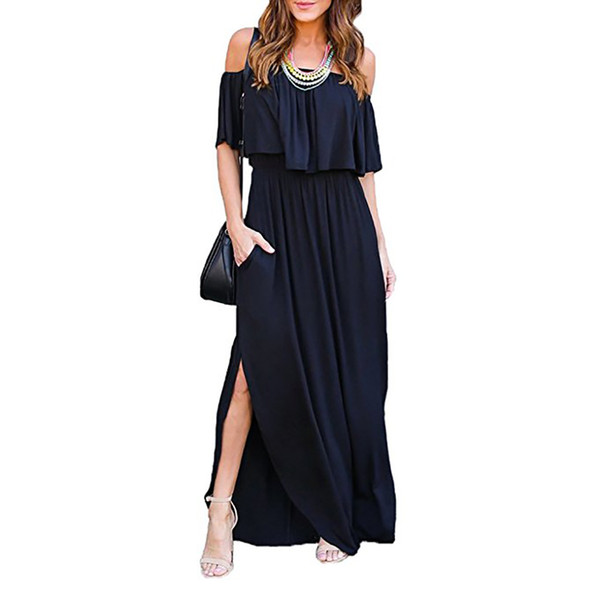 Womens Off The Shoulder Ruffle Party  Side Split Beach Maxi Dress with Pockets