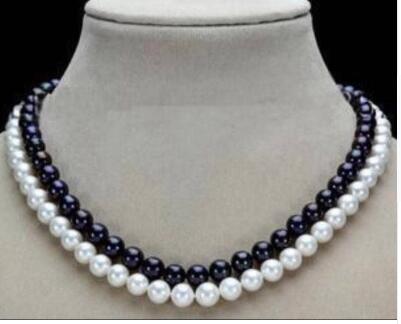 """free shipping wholesale 2 Row 7-8mm Black & White Freshwater Pearl Necklace 17-18"""""""