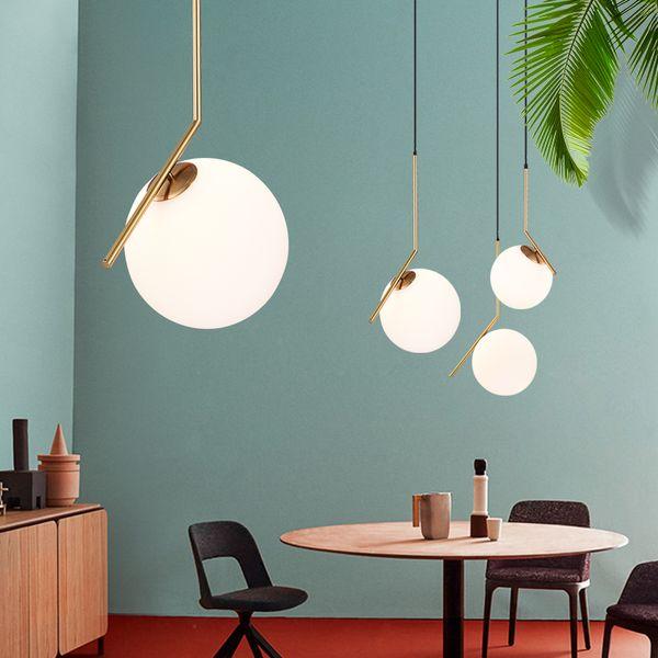 Modern Minimalist Led Pendant Light Nordic Bar Cafe Decoration glass ball Ceiling Lamp for Living Room Bedroom Dining Room Hanging Lamp