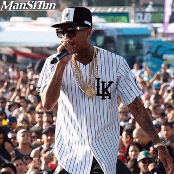 Novo Estilo de Verão Mens camisas T Moda 2017 Streetwear Hip hop camisa de beisebol camisa listrada Homens Roupas tyga M-XXL