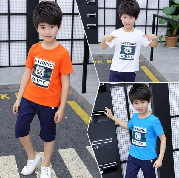 2018 New Children's Clothing Boys and girls Summer T-shirt Shorts Sports Suit Set Boy Baby Kids Fashionable School Uniform Outfit BY0436