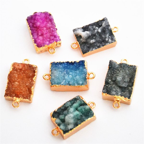 ashion Jewelry Pendants 20*16mm Natural Stone Jewelry Suppliers Gold Crystal Gem Stone Slice Pendant Agates Connector Drusy Agates Slices...