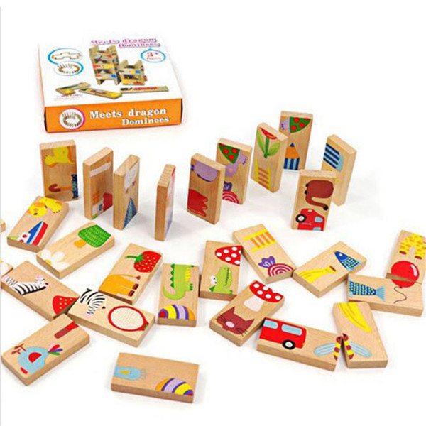 28pcs Animal Domino Blocks Unisex Baby Kid Toy Safe Wood Domino Educational Toys Gift for Kid Above 3 Years Old