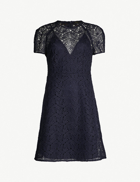 2018 French Blue Pure Color Short Sleeves Crewneck Lace Lady One Piece Dresses Women Dress MBL916 Ma*e Fall Autumn