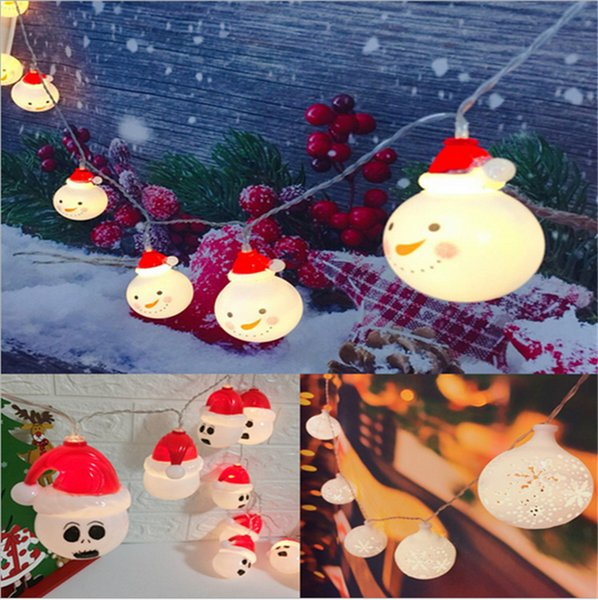Christmas 2M 10 LED Strings Battery Box Lighting String Cartoon Strings Painted Santa Claus Elk Snowman Christmas Tree decoration Wholesale