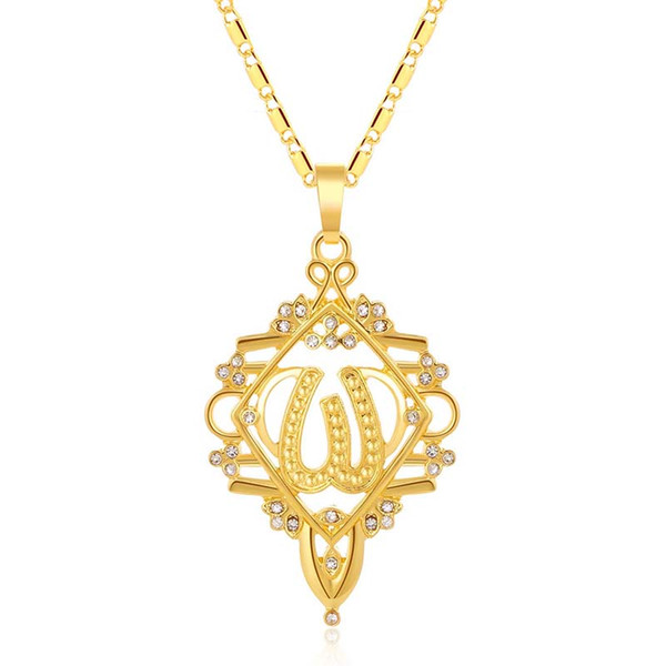Fashion Middle Eastern Islamic Religious Muslim pendant necklace/neck chain for Gold color Arab Women jewelry gift Bijoux