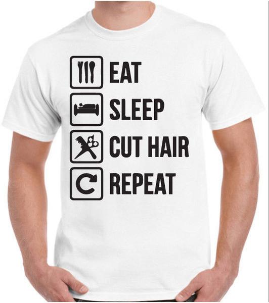 Eat Sleep Cut Hair Repeat Barber Camiseta Camiseta gráfica personalizada Barber Accessories