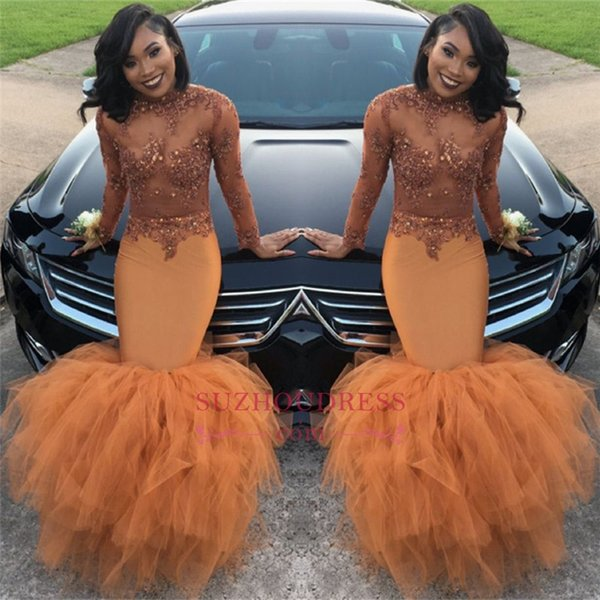 Du t orange long leeve mermaid prom dre e 2018 bead applique equin long ruched ruffle evening gown ba8084