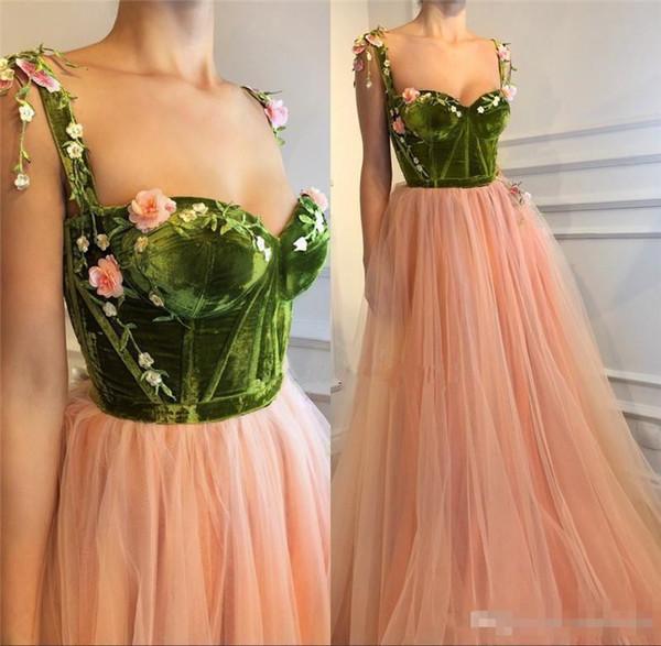 Blush Pink 3D Floral Long 2018 A Line Prom Dresses Velvet Vintage Lace Girls Pageant Engagement Custom Made Stylish Party Evening Dresses