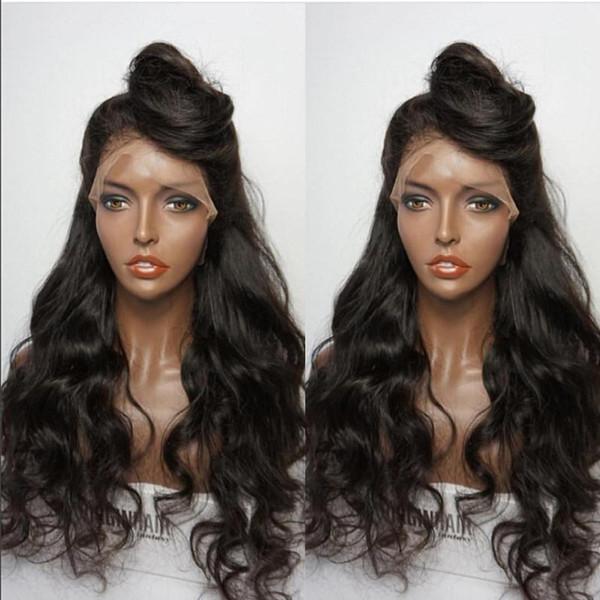 8A Grado Glueless Pelucas llenas del cordón del pelo humano Pelucas brasileñas del cordón del pelo de la Virgen con la peluca delantera del cordón de la onda del cuerpo del pelo del bebé