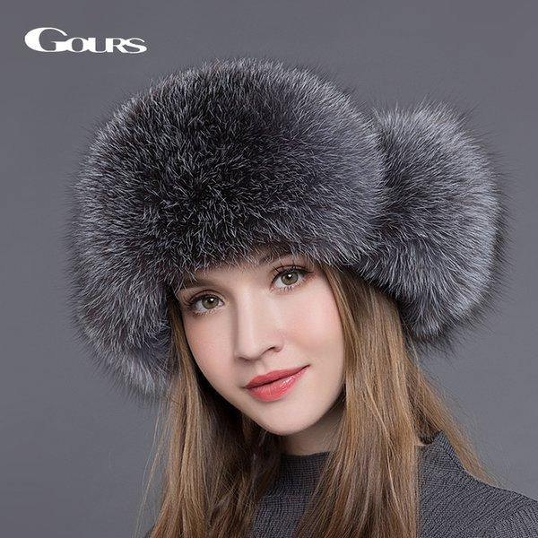 Gours Fur Hat for Women Natural Raccoon Fox Fur Russian Ushanka Hats Winter Thick Warm Ears Fashion Bomber Cap Black New Arrival C18111601