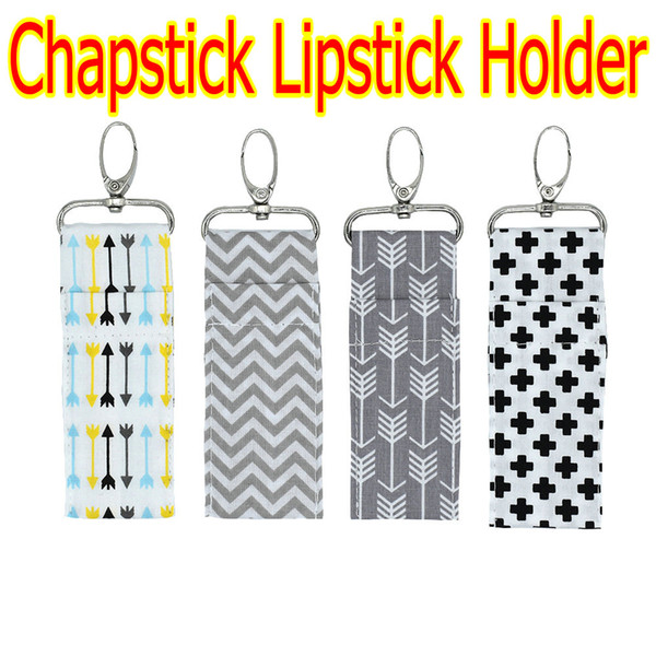 best selling 2018 NEWEST INS Chapstick Holder Cross Arrow Zigzag Chevron Lipstick Keychain Lip Bag 4 Colors Multi Purpose Key Lip Palm Holder Pure Cotton