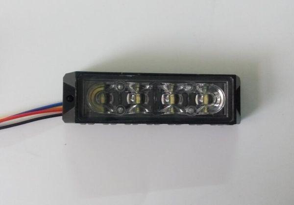 ECE R65 4 * 3W LED phares stroboscopiques pour montage en surface de voiture, voyants de gril, lampe de secours, 18 flashs, étanche, 2pcs / lot