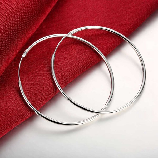 Diâmetro: 5 cm Requintado Brincos De Prata Para As Mulheres Clássico Festa de Casamento Jóias Suave Grande Círculo Brincos de Argola de Alta Qualidade