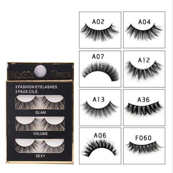 e62a54d0550 3D Charming Real Mink Hair 8 Styles False Eyelashes 3pairs/box Natural Long  Beauty Makeup