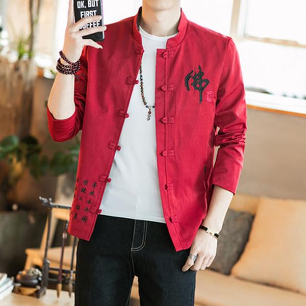 Vêtements masculins traditionnels chinois manteau chinois manteau traditionnel des hommes de style vestimentaire haut oriental