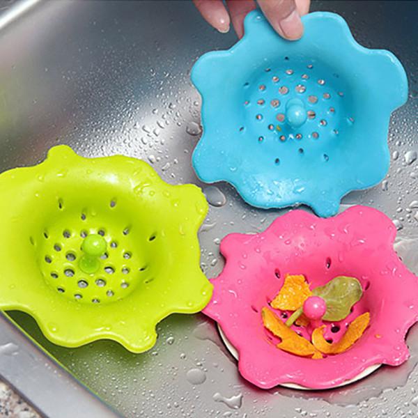 Flower Shape Silicone Kitchen Sink Strainer Filter Round Kitchen Sink Drain Cover Stopper Floor Filter Trap Sink Strainer Home Garden